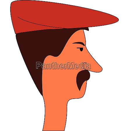 man wearing red hat with mustaches