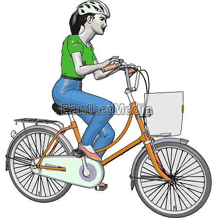 a female cyclist vector or color