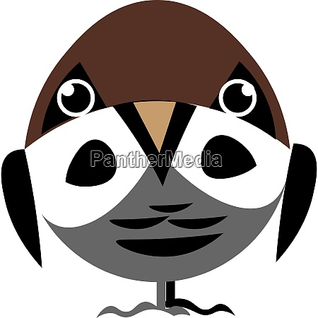 cartoon sparrow with eyes and legs