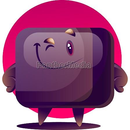 happy cartoon tv monster vector illustration