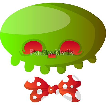 green cartoon skull with red bowtie