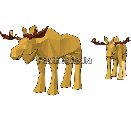 two yellow reindeer toy vector or