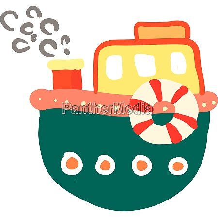 cartoon of a colorful boat vector