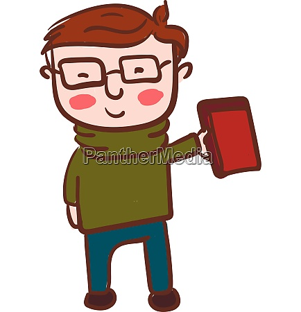 boy with eyeglass holding book in