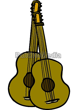 a 2 wooden guitars vector or