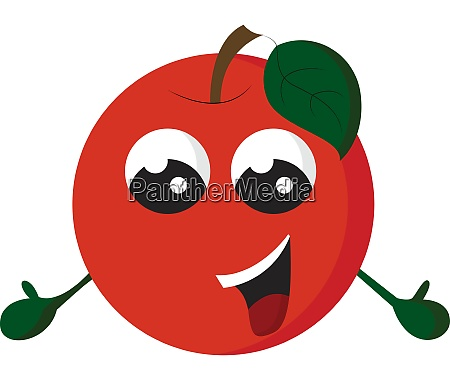 a happy red apple vector or