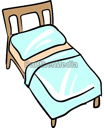 bed with blue sheets and pillow