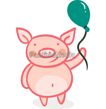 piglet with a green balloon vector