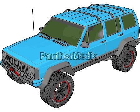 blue jeep cherokee illustration vector on