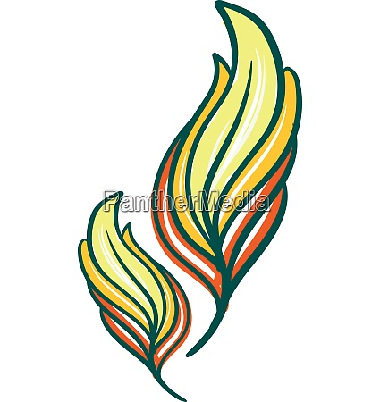 yellow and green color feather vector
