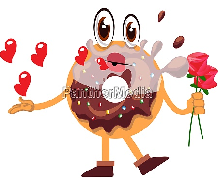 donut holding roses illustration vector on