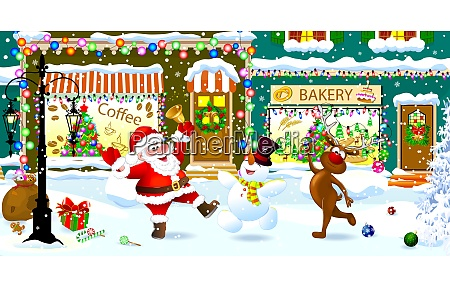 santa snowman and reindeer celebrate christmas
