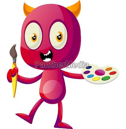 devil holding color palette illustration vector