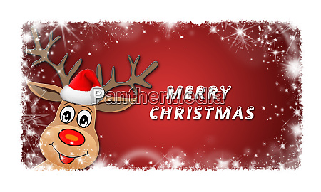 christmas background red with smiling reindeer