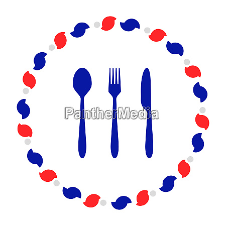 cutlery and wreath