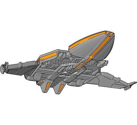 fantasy spacecraft vector illustration non white