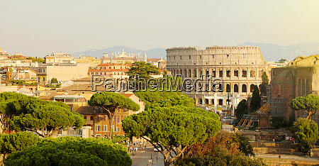 rome cityscape skyline with landmarks of