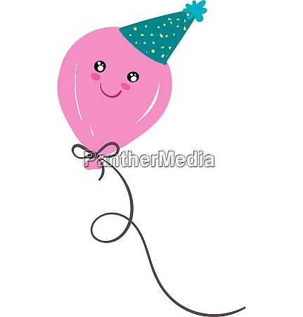 a pink balloon with smiling eyes