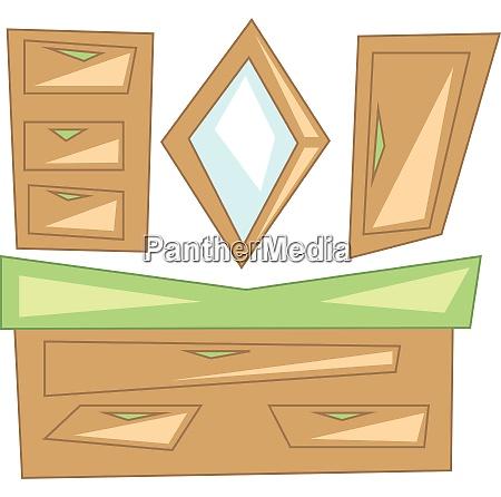 a wooden bathroom dressing shelf with