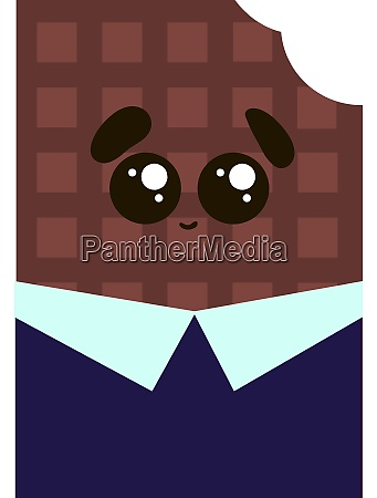 cute chocolate in suit illustration vector