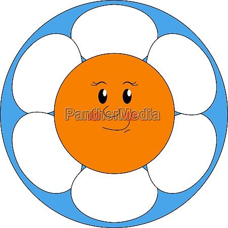 smiling flower illustration vector on white