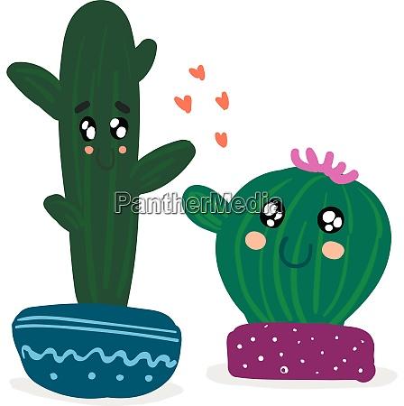 two cactus plants emoji expressing happy