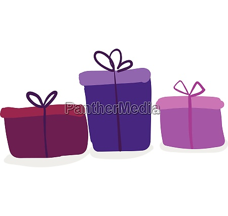 three colorful present boxes of different