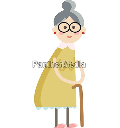 cartoon of an old lady with