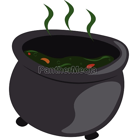 a black witch cauldron with steaming