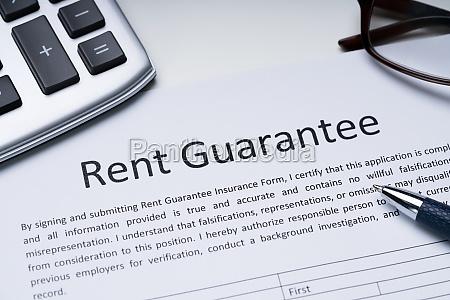 rent guarantee form