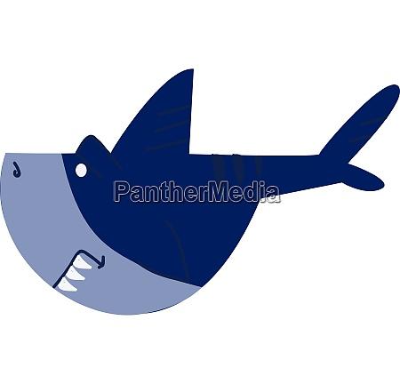 a blue shark with its sharp