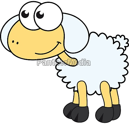 funny sheep illustration vector on white