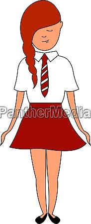 girl in school uniform illustration vector