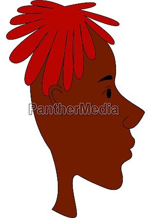 red dreadlocks illustration vector on white