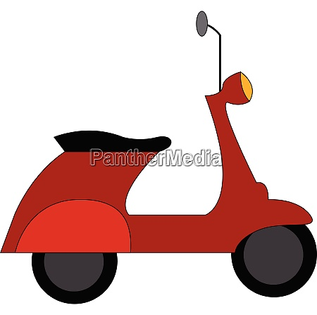 red vespa scooter vector illustration on