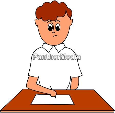 boy doing paperwork illustration vector on