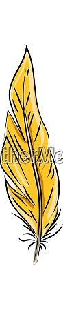 orange feather illustration vector on white