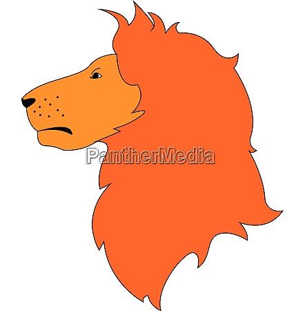 red hair lion profileillustration vector on