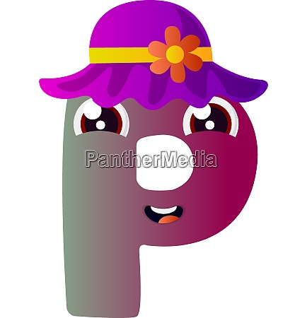 purple letter p with purple hat