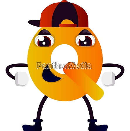 orange letter q with hat vector