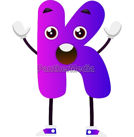purple letter k vector illustration on