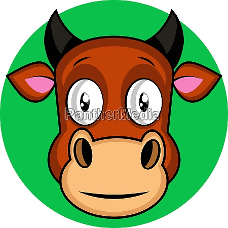 cartoon brown cow vector illustration on