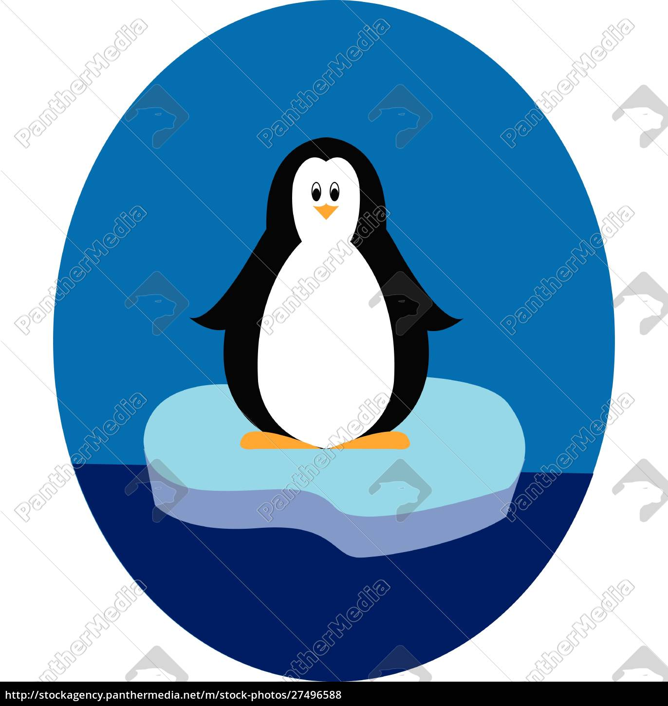 penguin, standing, on, iceberg, illustration, vector - 27496588