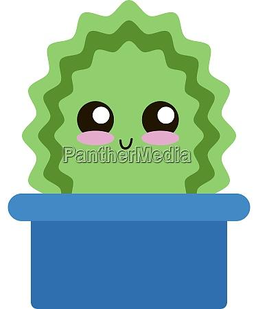 cute green cactus in pot illustration