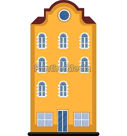 cartoon orange building with red roof