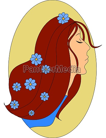 girl with flowers in hair illustration