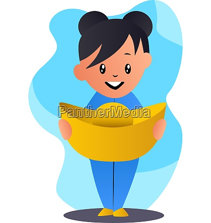 cartoon chinese girl holding hat vector