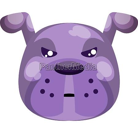 grumpy purple cartoon dog vector illustartion