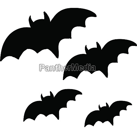 four black bats flying in the