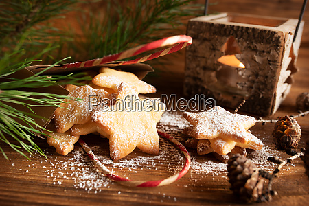 christmas cookies on old wood